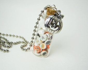 Halloween Clay Slices 2ml Glass Bottle Necklace - Polymer Clay Halloween Vial Pendant - Clay Slices Charm