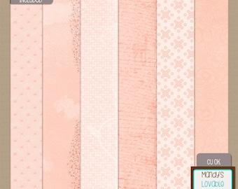Vintage Floral Paper Pack - Digital Scrapbooking Cards Invitations - Glitter Accent - 300 dpi - CU OK