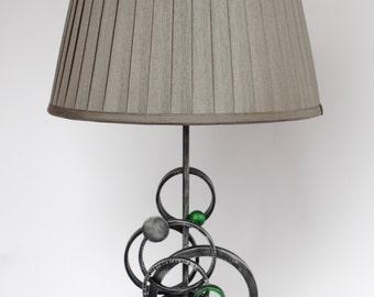 Metal table lamp, circles