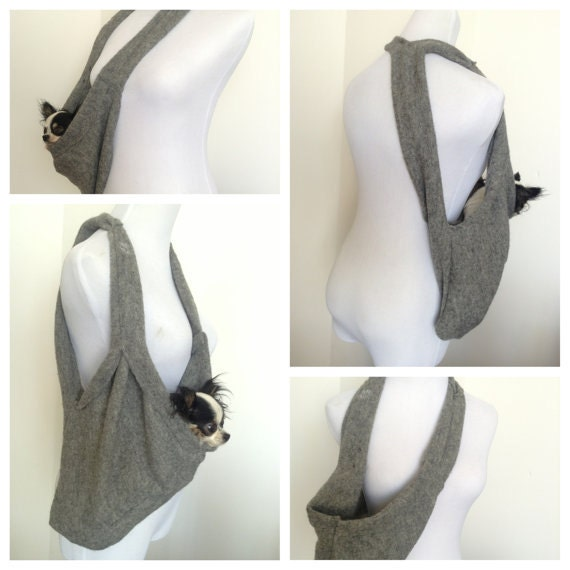 Items similar to pet travel bag grey scarf sling carrier small dog tote by heartpup on etsy - Pattern for dog carrier sling ...