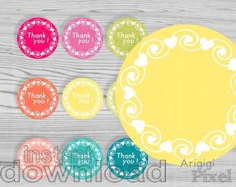 thank you, printable circles, wreath, hearts and swirls, summer colors, round tag, multicolored, instant download