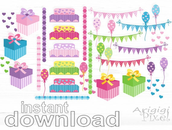 Instant download - birthday clipart set of 35