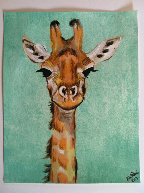 Items similar to Giraffe - Original Acrylic Painting on ...