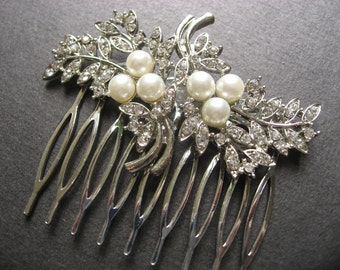 Pretty Shaped Swarovski Crystal Rhinestone and Pearls Wedding Bridal Bridesmaids Flower Girls Hair Comb