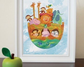 Nursery decor wall art, noahs ark nursery, prints for nursery, art for kids room, nursery pictures