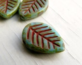 Turquoise Picasso Leaves - 16 x 12mm turquoise green leaves with Picasso finish (6), leaf beads, picasso beads, czech glass beads