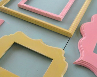 Shades of Pink and Yellow Frame Set, Picture Frames with Glass and Back,  Wall Decor, Scalloped Frames