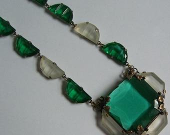 Vintage Edwardian Czechoslovakia Deco Geometric Glass Necklace
