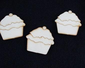 Muffins, wood, 3 piece, 5 x 5 cm (20-0002A)