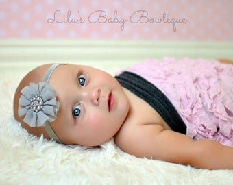 Baby Headband - Silver Grey Shabby Chic Chiffon Twirly Flower Headband- Newborn, Infant, Toddler Girl Photo Prop