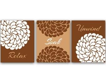 Relax Soak Unwind, Bathroom Wall Art, Bath Art Prints, Printable Modern Bathroom Art, Brown Bathroom Decor - BATH8