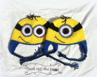 Crochet Minion earflap hat - One and two eyed Child-Adult