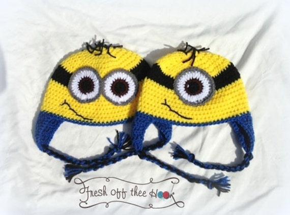 Minion Ohrklappe Hut häkeln - eins und zwei Augen Kind-Erwachsener