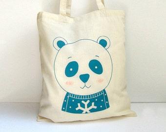 Screen printed Tote bag Panda Bear illustration