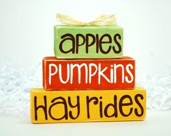 Fall Apples Pumpkins Hay Ride WoodenBlock Shelf Sitter Stack