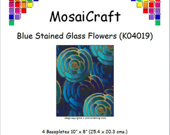 MosaiCraft Pixel Craft Mosaic Art Kit 'Blue Stained Glass Flowers' (Like Mini Mosaic and Paint by Numbers)