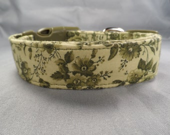 Green Toile Flowers on Sage Dog Collar