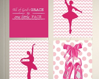Girls room art, nursery art, ballerina nursery, ballet dancer, chevron nursery, magenta nursery, girls poster, set of 4
