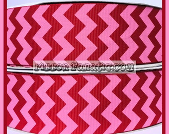 """SALE 50% OFF!!  5 yds 1.5"""" Red and Hot Pink Valentine's Day Chevron Striped Grosgrain Ribbon 1 1/2"""""""