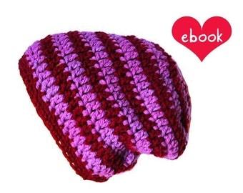 Instant Download - Crochet Pattern - Stripy Beanie - PDF ebook No. 66