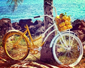 Bicycle art Beach cruiser photo Bike art Bicycle photo Gifts for cyclists Beach bike Vintage bicycle Bike and beach photo Tropical beach