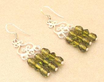 Silver chandelier glass finish Pearl Earrings