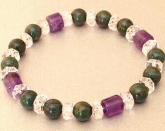 Bracelet jade Amethyst rock crystal