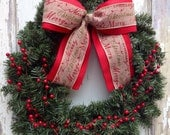 Traditional Christmas Wreath - Red Berry, Burlap - WreathUnique