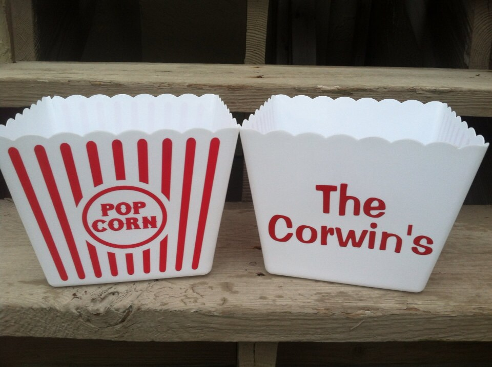 Set of 10-Personalized Popcorn Containers & Tumblers