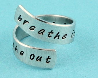 Breathe Ring - Breathe In Ring - Breathe Out Ring - Move On Ring - Wrap Ring - Twist Ring - Adjustable Ring - Silver Ring - Yoga Ring