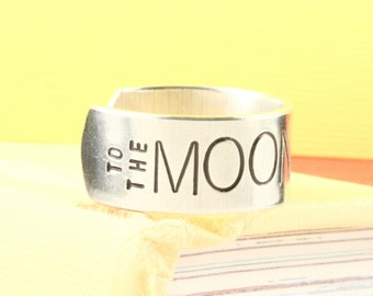 SALE - Love You to the Moon and Back Ring - Aluminum Adjustable Ring - Hand Stamped Ring - Mother's Day Gift