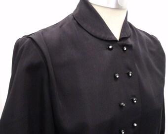 50s Clutch Jacket M NATALIE NOLDER 3/4 Puffed Sleeve Black Faille Rhinestone Buttons Adorable Audrey Hepburn Swing Coat