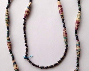 BINGO Bead Necklace - Purple and Blue