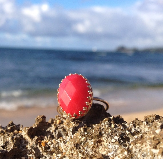 SALE** Solid Gold Red Jade Ring