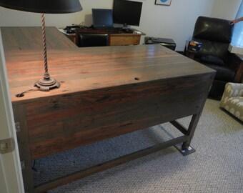 Rustic Reclaimed Barnwood L Desk
