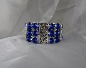 This is a beautiful Cobalt blue crystal beaded bracelet cuff