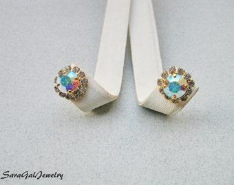 Crystal stud Earrings, Gold plated stud Earrings, Wedding jewelry, Ab clear Swarovski Crystal, Swarovski Rhinestones, Bridesmaid,
