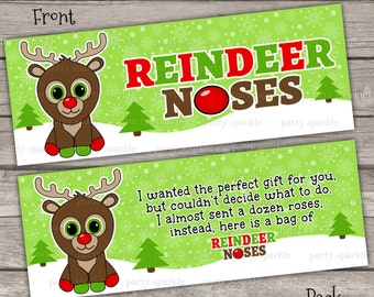 INSTANT DOWNLOAD - Reindeer Noses Green Treat Bag Toppers Holiday Favor Labels - Christmas Party Digital pdf file