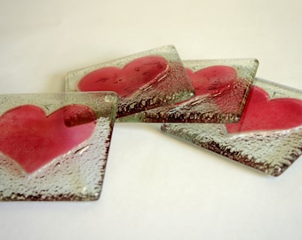 Fused Glass Cherry Heart Coasters - Set of 4