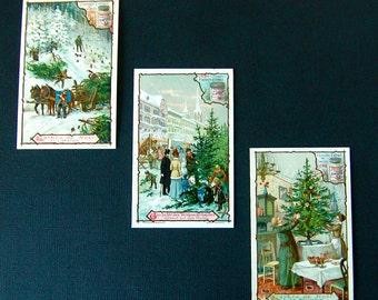 Sale RARE 3 Liebig Christmas Tree VTCs, Vintage Antique Victorian Trade Cards