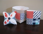 SALE!!  Three Piece Happy-Go-Lucky Sewing Accessories Set - Pincushion, Needle Book, and Thread Catcher