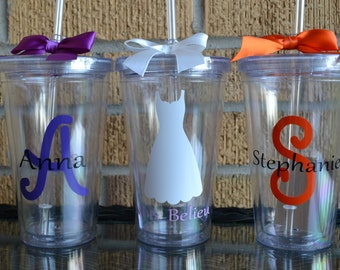 Bridesmaid Gifts Set of 3 - Monogrammed Initial Tumblers  - Bridesmaids Gifts - Custom Letter/Colors -