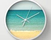 """Wall Clock - Beach,Sea & Sky - 10"""" - Photography Photo Art Summer Beige Turquoise Abstract white black natural"""