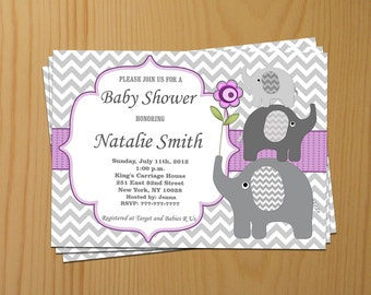 Baby Shower Invitation Girl Baby Shower Invitation Elephant Baby Shower Invitation Invites (50pg) - Free Thank You Card - Instant Download