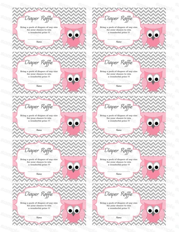 Owl Baby Shower Diaper Raffle Ticket Diaper Raffle Card Diapers ...