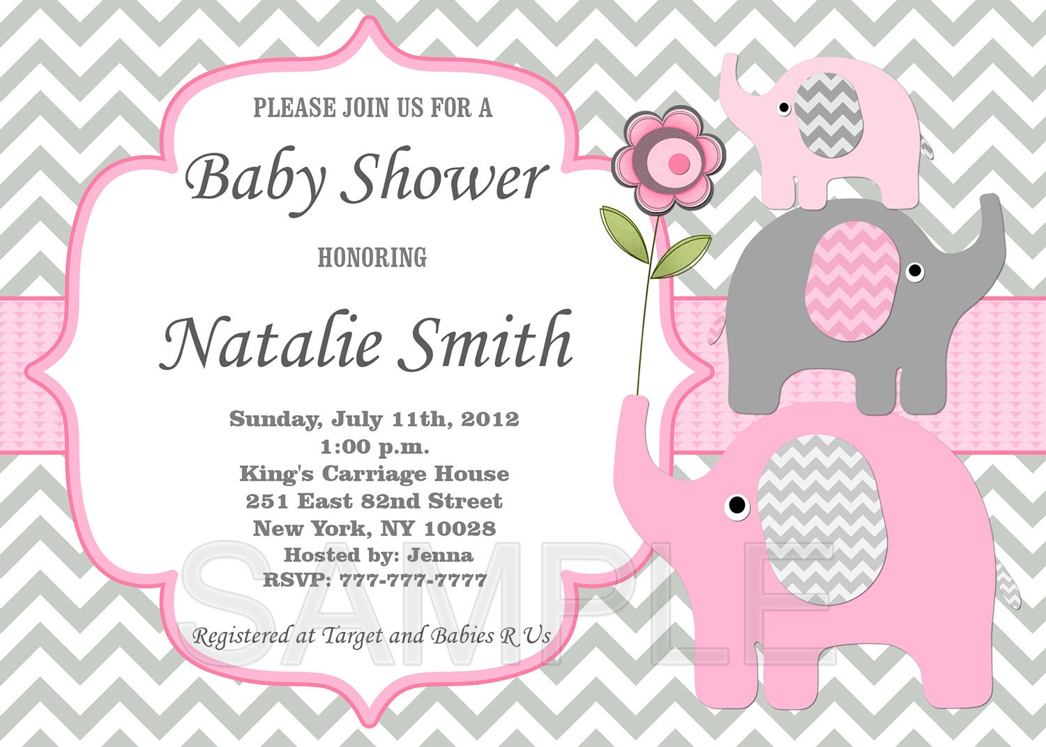 Girl Baby Shower Invitation Elephant Baby Shower by diymyparty