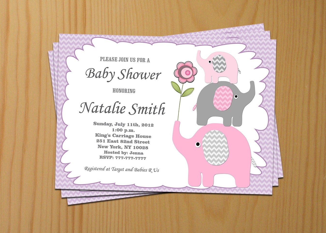 Baby Shower Picture Images ~ Baby shower invitation girl elephant