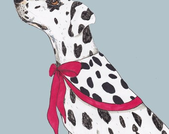 Dalmatian in a cape greeting card, funny, quirky