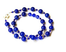"Sparkling Royal Blue Handmade Formal Necklace, 19"", Special Occasions Jewelry, Classic Opera Necklace, Cobalt Blue, OOAK Unique"