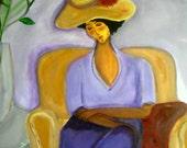 Year End Sale./ Original 16x20 Modern African American portrait painting Canvas ART - Woman In Straw Hat Purple Dress